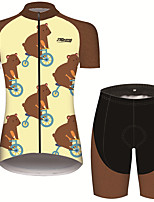 cheap -21Grams Women's Short Sleeve Cycling Jersey with Shorts Brown Animal Bike Breathable Quick Dry Sports Patterned Mountain Bike MTB Road Bike Cycling Clothing Apparel / Micro-elastic