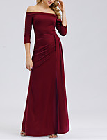 cheap -Sheath / Column Off Shoulder Floor Length Polyester Minimalist / Red Formal Evening / Wedding Guest Dress with Split 2020