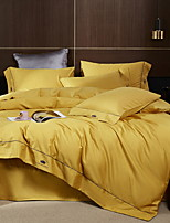 cheap -Duvet Cover Sets 4 Piece Polyester / Polyamide Solid Colored Yellow Printed Simple