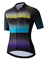 cheap -21Grams Women's Short Sleeve Cycling Jersey 100% Polyester Black / Blue Gradient Stars Bike Jersey Top Mountain Bike MTB Road Bike Cycling UV Resistant Breathable Quick Dry Sports Clothing Apparel