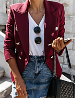 cheap -Women's Blazer, Solid Colored Notch Lapel Polyester Red / Navy Blue