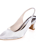 cheap -Women's Heels Block Heel Square Toe Satin Minimalism Fall / Spring & Summer Black / White / Purple / Wedding / Party & Evening