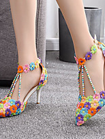 cheap -Women's Sandals Stiletto Heel Pointed Toe Pearl / Satin Flower / Buckle PU Business / Minimalism Spring &  Fall / Spring & Summer Rainbow / Wedding / Party & Evening / Color Block