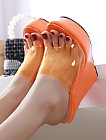 cheap -Women's Sandals Wedge Heel Round Toe PU Spring & Summer Orange / Yellow