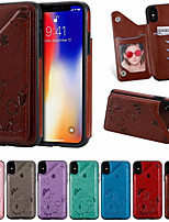 cheap -Case For Apple iPhone XR / iPhone XS Max / iphone X / XS Card Holder / Shockproof / Pattern Back Cover Cartoon PU Leather