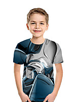 Недорогие -Дети Мальчики Активный Уличный стиль Геометрический принт 3D Пэчворк С принтом С короткими рукавами Футболка Цвет радуги