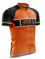 cheap -21Grams Men's Short Sleeve Cycling Jersey 100% Polyester Black / Orange Bike Jersey Top Mountain Bike MTB Road Bike Cycling UV Resistant Breathable Quick Dry Sports Clothing Apparel / Stretchy