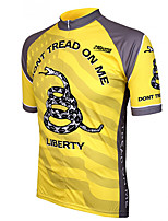 cheap -21Grams Men's Short Sleeve Cycling Jersey 100% Polyester Yellow Animal Snake Bike Jersey Top Mountain Bike MTB Road Bike Cycling UV Resistant Breathable Quick Dry Sports Clothing Apparel / Stretchy