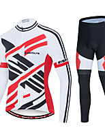 cheap -EVERVOLVE Men's Long Sleeve Cycling Jersey with Tights Polyester Black / White Stripes Geometic Bike Clothing Suit Thermal / Warm Breathable 3D Pad Quick Dry Sweat-wicking Sports Solid Color Mountain