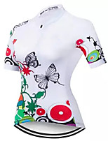 cheap -21Grams Women's Short Sleeve Cycling Jersey 100% Polyester Red / White Bike Jersey Top Mountain Bike MTB Road Bike Cycling UV Resistant Breathable Quick Dry Sports Clothing Apparel / Stretchy