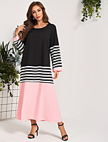 cheap -Women's Daily Holiday Casual Active A Maxi Line Dress - Color Block Black S M L XL