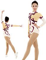 cheap -Rhythmic Gymnastics Leotards Artistic Gymnastics Leotards Women's Girls' Kids Leotard Spandex High Elasticity Handmade Long Sleeve Competition Dance Rhythmic Gymnastics Artistic Gymnastics White
