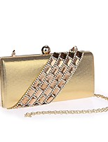 cheap -Women's Crystals / Chain Polyester / Alloy Evening Bag Solid Color Black / Gold / Silver