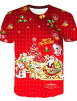Недорогие -Дети Мальчики Классический Уличный стиль Дед Мороз Контрастных цветов 3D Рождество С принтом С короткими рукавами Футболка Красный