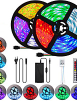 cheap -2x5M Flexible LED Light Strips / Light Sets / RGB Strip Lights 600 LEDs SMD5050 10mm 1 44Keys Remote Controller / 1 x 10A power adapter 1 set Multi Color Waterproof / Cuttable / Party 85-265 V