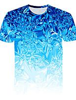 Недорогие -Дети Мальчики Классический Уличный стиль Геометрический принт Контрастных цветов 3D С принтом С короткими рукавами Футболка Светло-синий