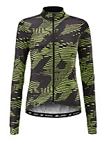 cheap -21Grams Women's Long Sleeve Cycling Jersey 100% Polyester Black / Green Stripes Bike Jersey Top Mountain Bike MTB Road Bike Cycling UV Resistant Breathable Quick Dry Sports Clothing Apparel