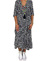 cheap -Women's Maxi Black Dress Swing Polka Dot V Neck S M
