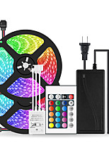 cheap -2x5M Flexible LED Light Strips / Light Sets / RGB Strip Lights 600 LEDs SMD5050 10mm 1 24Keys Remote Controller / 1 x 10A power adapter 1 set Multi Color Waterproof / Cuttable / Party 12 V