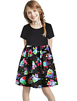 cheap -Kids Girls' Basic Cute Sun Flower Floral Color Block Print Short Sleeve Knee-length Dress Black