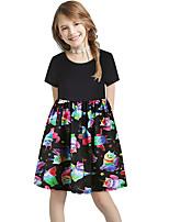 cheap -Kids Girls' Basic Cute Sun Flower Floral Color Block Print Short Sleeve Knee-length Dress Black
