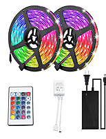 cheap -2x5M Flexible LED Light Strips / Light Sets / RGB Strip Lights 600 LEDs SMD3528 8mm 1 12V 6A Adapter / 1 24Keys Remote Controller 1 set Multi Color Waterproof / Decorative / Self-adhesive 12 V