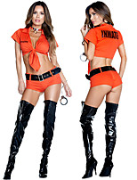 cheap -Prisoner Outfits Party Costume Adults' Women's Halloween Halloween Festival / Holiday Polyster Orange Women's Carnival Costumes / Top / Belt / Shorts