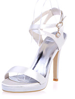 cheap -Women's Wedding Shoes Stiletto Heel Open Toe Satin Sweet Spring & Summer White / Purple / Champagne / Party & Evening