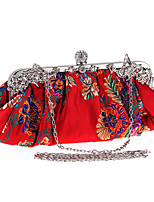 cheap -Women's Embroidery Polyester Evening Bag Floral Print Black / Red