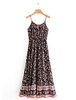 cheap -Women's Maxi Black Dress A Line Print Strap S M