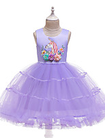 cheap -Unicorn Dress Flower Girl Dress Girls' Movie Cosplay A-Line Slip Cosplay Purple / Pink / Light Blue Dress Halloween Carnival Masquerade Tulle Polyester