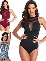 cheap -Women's Beach Girl Vintage 1980s Bikini Peplum Swimsuit Monokini Satin / Tulle Polyster Patchwork Black Wine Leotard / Onesie