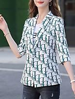 cheap -Women's Blazer, Letter Notch Lapel Polyester Green