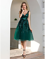 cheap -A-Line Sparkle Green Wedding Guest Cocktail Party Dress V Neck Sleeveless Tea Length Tulle with Sequin 2020