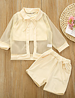 cheap -Baby Girls' Casual Basic Solid Colored Lace Sleeveless Long Sleeve Regular Regular Clothing Set Beige