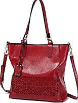 cheap -Women's Zipper PU Top Handle Bag Solid Color Black / Brown / Wine