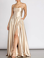 cheap -A-Line Scoop Neck Floor Length Charmeuse Sexy / Glittering Prom / Formal Evening Dress with Pleats / Split 2020