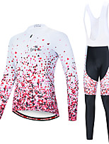 cheap -EVERVOLVE Women's Long Sleeve Cycling Jersey with Bib Tights Pink+White Pink / Black Heart Geometic Bike Clothing Suit Thermal / Warm Breathable 3D Pad Quick Dry Sweat-wicking Sports Solid Color