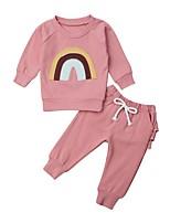 cheap -Baby Girls' Street chic Print Long Sleeve Regular Clothing Set Blushing Pink