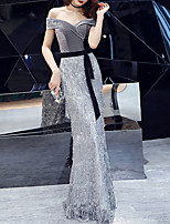 cheap -Mermaid / Trumpet Off Shoulder Floor Length Sequined / Velvet Glittering / Grey Engagement / Formal Evening Dress with Sequin / Tassel 2020