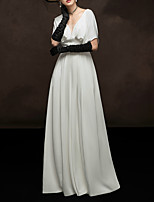 cheap -A-Line V Neck Floor Length Satin Elegant / White Engagement / Formal Evening Dress with Pleats 2020