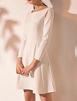 cheap -A-Line Jewel Neck Short / Mini Spandex Minimalist / White Graduation / Cocktail Party Dress with Pleats 2020
