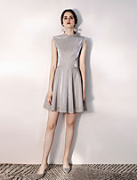 cheap -A-Line High Neck Short / Mini Sequined Sparkle / Grey Party Wear / Cocktail Party Dress with Sequin 2020