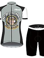 Недорогие -21Grams Жен. С короткими рукавами Велокофты и велошорты Черный / Белый Животное Обезьяна Велоспорт Наборы одежды Дышащий 3D-панель Быстровысыхающий Ультрафиолетовая устойчивость Впитывает пот и влагу