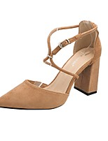 cheap -Women's Heels Chunky Heel Pointed Toe Suede Spring & Summer Black / Green / Gray