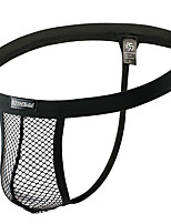 cheap -Men's Mesh G-string Underwear - Normal Low Waist Black White M L XL