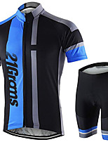 cheap -21Grams Men's Short Sleeve Cycling Jersey with Shorts Bule / Black Bike Clothing Suit UV Resistant Breathable 3D Pad Quick Dry Sweat-wicking Sports Solid Color Mountain Bike MTB Road Bike Cycling