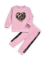 cheap -Baby Girls' Street chic Leopard Long Sleeve Regular Clothing Set Blushing Pink