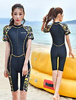 cheap -Women's Rash Guard Dive Skin Suit One Piece Swimsuit Elastane Swimwear UV Sun Protection Breathable Quick Dry Short Sleeve Swimming Surfing Water Sports Patchwork Autumn / Fall Spring Summer