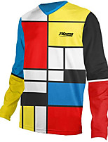 cheap -21Grams Men's Long Sleeve Cycling Jersey Downhill Jersey Dirt Bike Jersey 100% Polyester Red / Yellow Stripes Patchwork Geometic Bike Jersey Top Mountain Bike MTB Road Bike Cycling UV Resistant